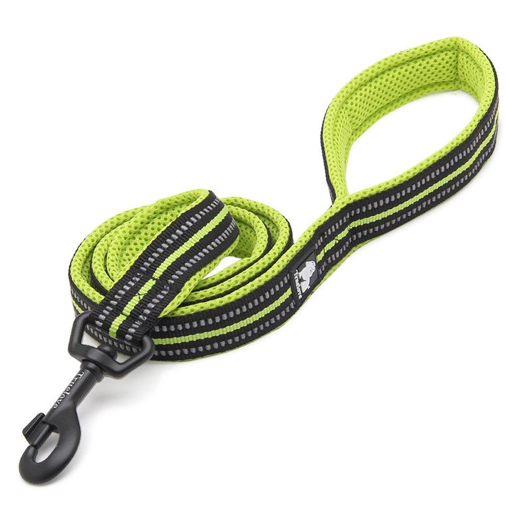 cuerda de perros c/ómodos fuertes para perros peque/ños Rantow 110cm Largo 2cm Largo Correa de perro transpirable con seguridad nocturna de 3M Reflexivo rayas medianos Verde