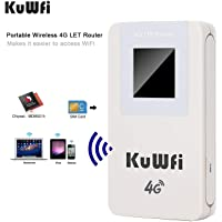 KuWFi 4100mAH Power Bank 4G LTE WiFi Router Mobile Hotspot Pocket Portable Wireless Unlock Mini LTE WiFi Modem 4G Router with SIM Card Slot Work with Optus/Telstra/Virgin Mobile/Vodafone sim Card