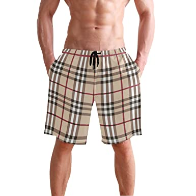 53fed81767 REBACAT Stripe Paild Texture Men's Swim Trunks Quick Dry Beach Board ...