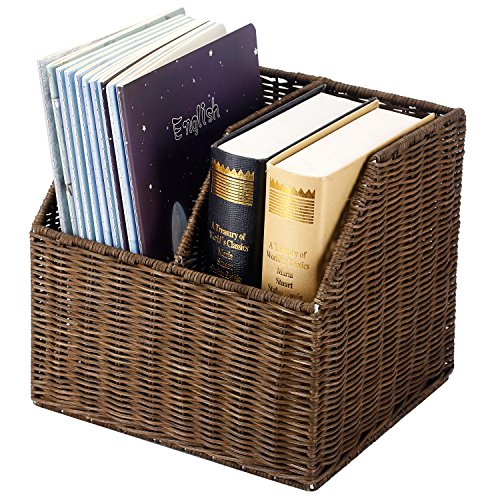 MyGift Woven 2 Slot Rattan Literature File Holder, Decorative Organizing Basket, Brown ()