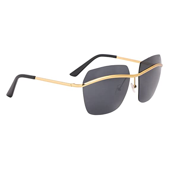 aba3caa7c81cb Aye Roof Black   Golden Square Sunglasses (UV Protected) (Medium Size)   Amazon.in  Clothing   Accessories