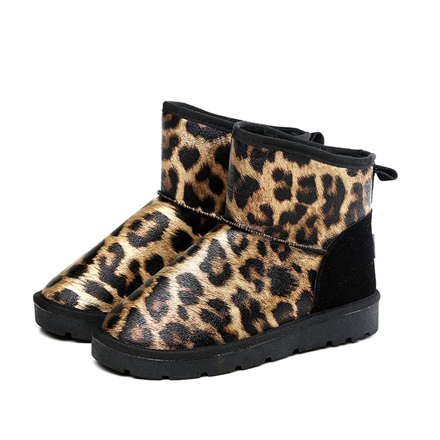 Agowoo Womens Leopard Faux Fur Fuzzy Lining Ankle High Snow Boots