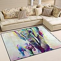 LORVIES Elephant Painting Area Rug Carpet Non-Slip Floor Mat Doormats for Living Room Bedroom 63 x 48 inches