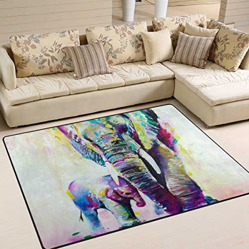 LORVIES Elephant Painting Area Rug Carpet Non-Slip Floor Mat Doormats for Living Room Bedroom 63 x 48 inches