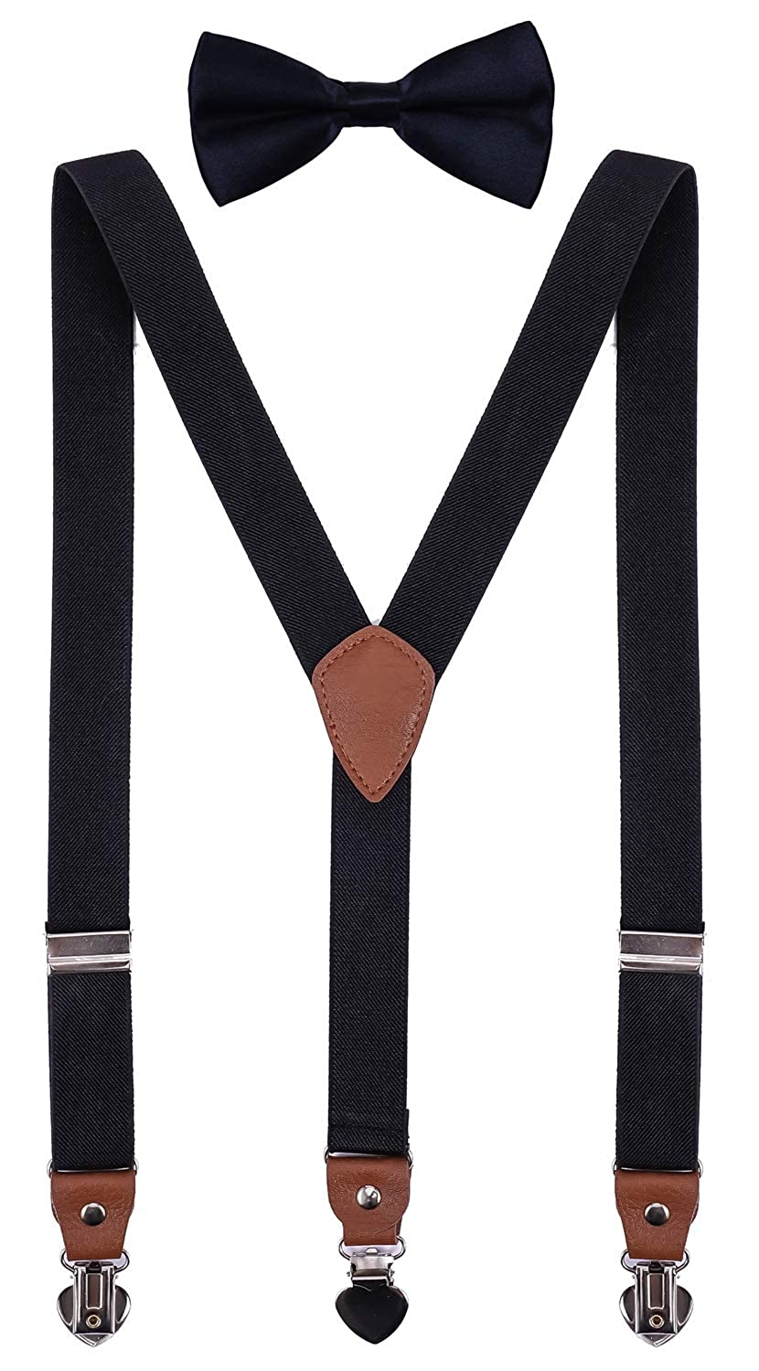 SUNNYTREE Mens Boys Suspenders Adjustable Y Back with Bow Tie Set for Wedding Party