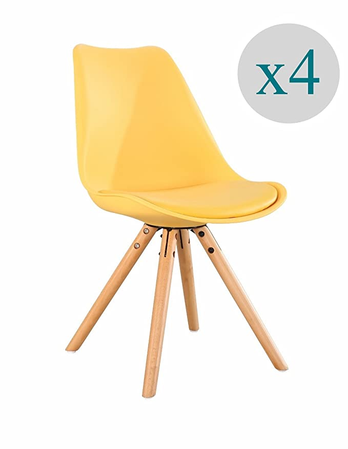 Aryana Home - Pack de 4 Silla nórdica Nordic (Tower EAME réplica) Color Amarillo: Amazon.es: Hogar