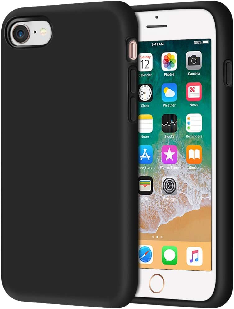 "Anuck iPhone SE 2020 Case, iPhone 8 Case, Non-Slip Liquid Silicone Gel Rubber Bumper Case Soft Microfiber Lining Hard Shell Shockproof Full-Body Protective Case Cover for iPhone 7/8/SE 4.7"" - Black"