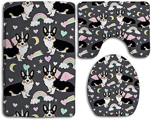 Amazon Com Sara Nell Cartoon Moon Rainbow And Dogs Cute Bathroom Rugs And Mats Sets Bathroom Rugs Sets 3 Piece Bath Rugs For Bathroom Washable U Shaped Contour Rug Mat And Lid Cover Home