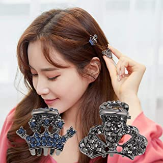 product image for CHIMERA 2 Pcs/set Mini Jaw Clips Stylish Metal Crystal Hair claws Non-Slip Crown Barrette Elegant Small Hairgrip for Women Girls