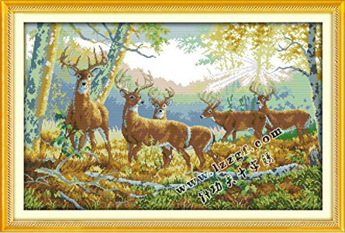 Counted Cross Stitch Kits Five Deer 14 Count 63cmx42cm DIY Needle Work for Home Decor ()