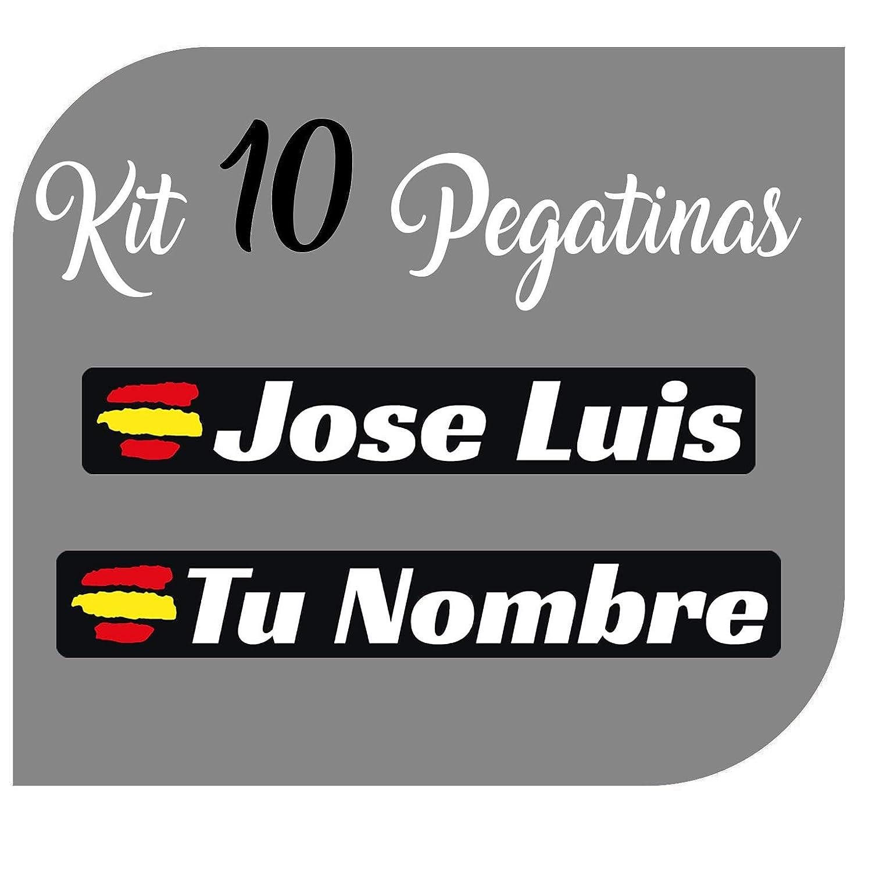 Kit x10 Pegatinas Vinilo Bandera España + tu Nombre - Bici, Casco ...