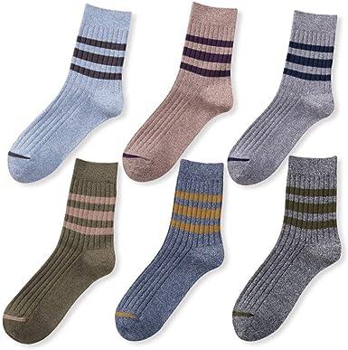 Hyf Socks Medias De Otoño E Invierno Para Hombres. 6 Calcetines De Rayas Para Hombre. Calcetines De Algodón Casual.: Amazon.es: Ropa y accesorios