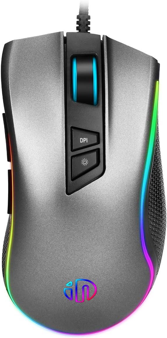 KINGKO INPHIC RGB Ergonomic Gaming Mouse Wired for PC Mac Laptop Computer USB, Optical Gamer Mice