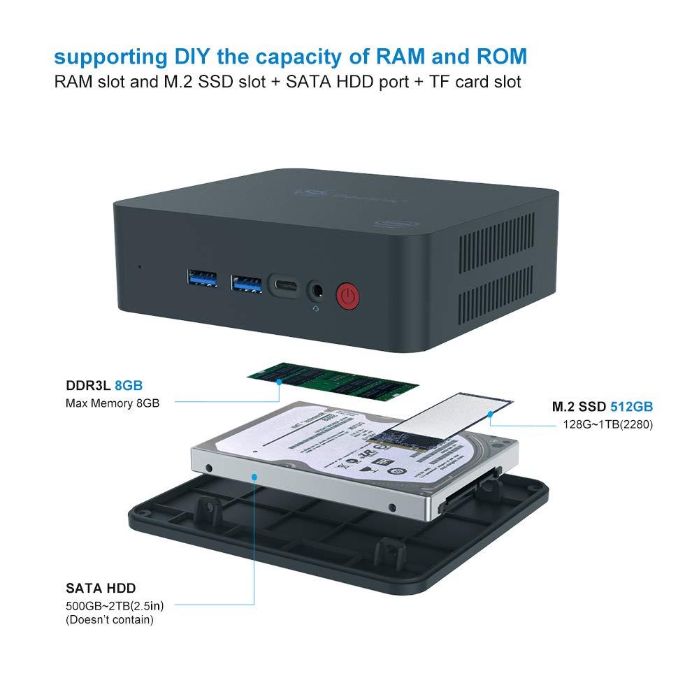 Supports Extended RAM /& SSD//4K@60Hz//Dual HDMI//Dual WiFi //BT4.0// Fan Mini PC Windows10 Pro Core i3 8G//256G Beelink U55 Intel Core i3-5005U Processor 8GB//256GB SSD