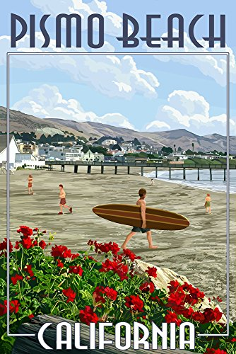 Pismo Beach, California - Beach and Pier Scene (9x12 Art Print, Wall Decor Travel - Pismo Beach Pismo Beach