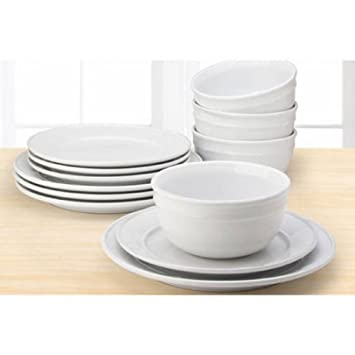 12-Piece Arctic White Ceramic Solid Color Microwave-Safe And Dishwasher-Safe Stoneware  sc 1 st  Amazon.com & Amazon.com | 12-Piece Arctic White Ceramic Solid Color Microwave ...