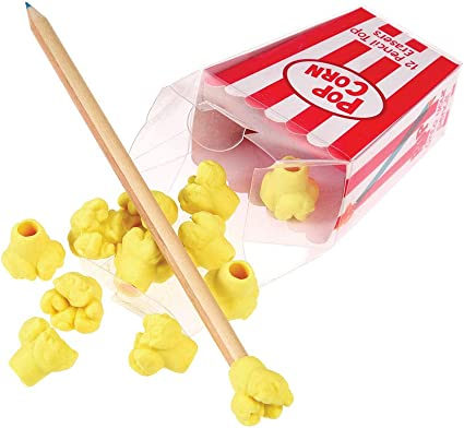Gomas de borrar Popcorn Pencil Top (caja de 12): Amazon.es ...