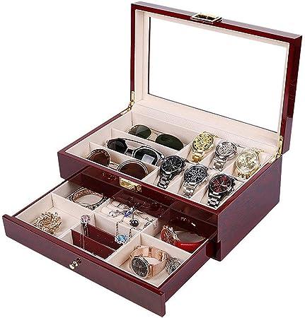 Cajas de reloj 2 capas de madera joyería Relojes caja de regalo caja de madera de