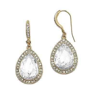 475ad9b149e0f Mariell Gold Pear-Shaped Crystal Dangle Earrings for Weddings, Bridal,  Prom, Bridesmaids & Fashion Glam