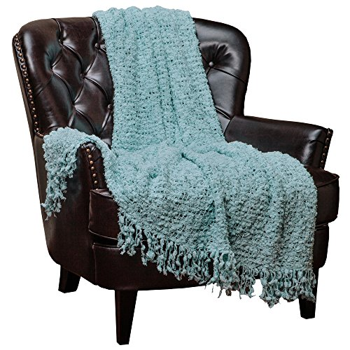 Attirant Chanasya Super Soft Beautiful Elegant Decorative Woven Popcorn Texture Couch  Bed Baby Blue Teal Throw Blanket With Ball Fringe  Light Baby Blue