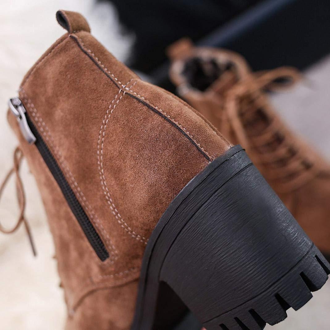 S H-NEEDRA Femme Printemps Automne Hiver Mode Femmes Bout Rond Lacets  Anti-DéRapant Bottes en Cuir Casual Martin Chaussures  Amazon.fr  Chaussures  et Sacs f1997d44d765