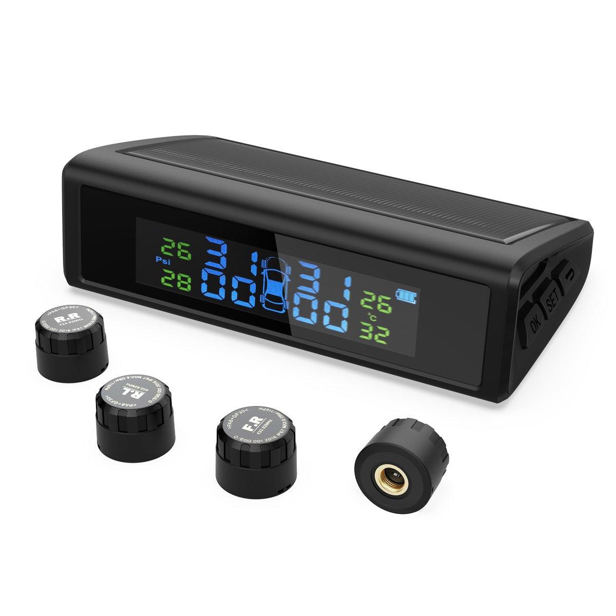 HiGoing Reifendruckkontrollsystem, Reifendruckmesser fü r Auto, Wohnmobil, KFZ usw, Solar Reifendruckkontrolle mit 4 Sensoren, LCD-Display zeigt genaue Reifendruck- und Temperatur