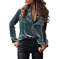 Juleya Camisa vintage para mujer Camisa de terciopelo elegante Camisa de manga larga con cuello en V clásica de otoño Invierno Camisa de un solo pecho blusa Negra Azul Púrpura