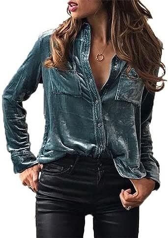 Juleya Camisa Vintage para Mujer Camisa de Terciopelo Elegante Camisa de Manga Larga con Cuello en V clásica de otoño Invierno Camisa de un Solo Pecho Blusa Negra Azul Púrpura: Amazon.es: Ropa