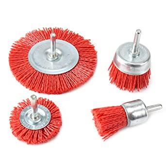 3Pcs Abrasive Wire Wheel Brushes Assorted Nylon Brush Set 3Inch//4 for Drill with 1//4 Shank