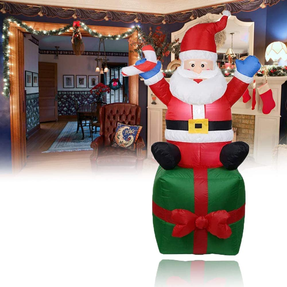 6ft LED Christmas Inflatable Outdoor Decortion Santa Claus Yard Decor Holiday Garden Decorations Built-in Fan Xmas Inflatables Figurines Inflatable Blow Up Santas Doll