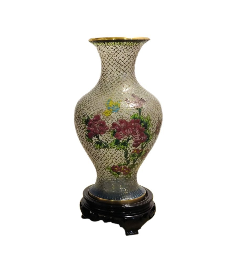 Cloisonne Translucent Vase with Gold Trim and Detail - 2 Sizes to Choose By Your Own (small size about 8 inches Tall X 3.5 inches Wide)