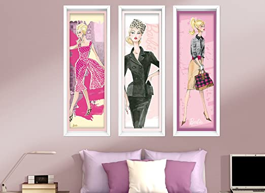 Barbie Large Faux Framed Art Wall Decal Set