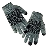 LETHMIK Kids Winter Knit Gloves Children Wool Lining Warm Gloves with Touchscreen Tech Green, One Size (Superior Elasticity)