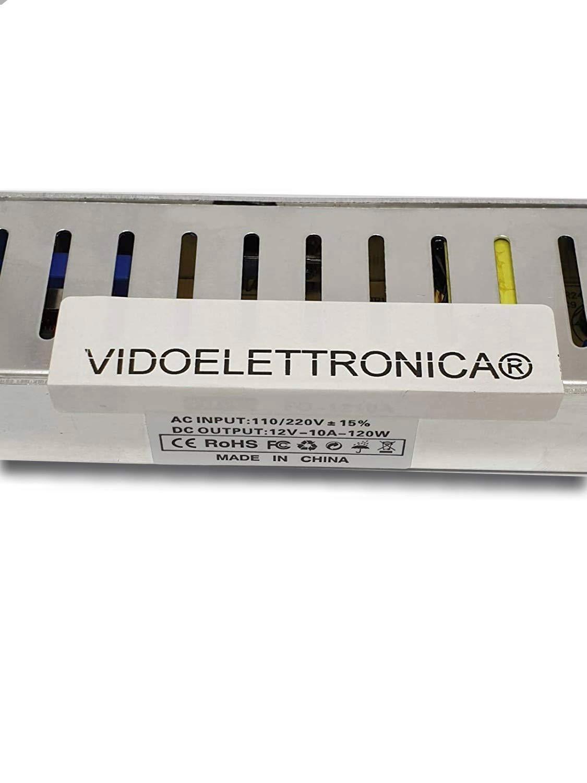 VIDOELETTRONICA/® Bloc dalimentation 10 A 12 V bande LED transformateur 10 A stabilis/é version slim 220 V 120 W Classe defficacit/é /énerg/étique A