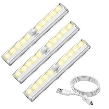 AMIR LED Armario iluminación, USB recargables Sensor de movimiento luz, 10 LED Gabinete Luz