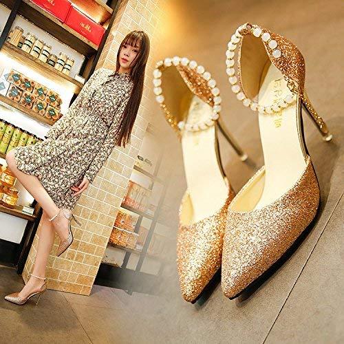Silberner Perlenschlitzriemen an Sandalen mit Hohlspitzenschuhen und vielseitiger Feinabsatz Feinabsatz Feinabsatz mit hohen Absätzen (Farbe   39, Größe   The rot) c34a4f
