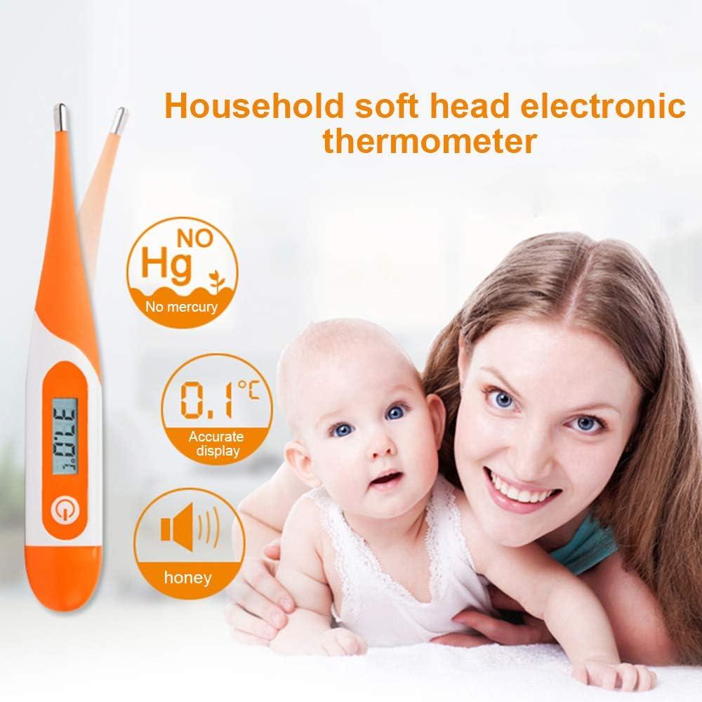r/ésistant /à leau pour b/éb/és enfants et adultes Orange GerTong Thermom/ètre num/érique et corporel signal acoustique sans verre /écran LCD avec plage de mesure +//- 0,1 oC sans mercure