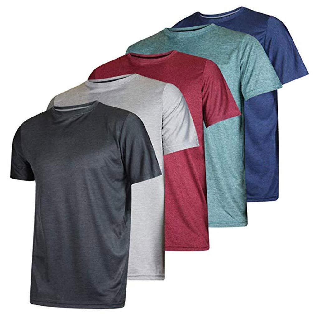 Fullwei Men 5PC Short Sleeve Yoga Tops Quick-Dry Sports Solid Tops Summer Sportswear