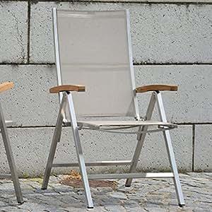 Jankurtz Lux–Silla plegable con reposabrazos, 61x 70x 110cm, Jankurtz 498394Lux–Silla plegable con reposabrazos de madera de teca y taupefarbenem Batyline de funda, silla plegable de acero inoxidable con respaldo ajustable