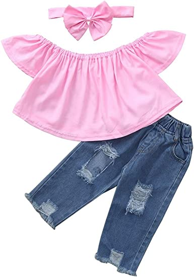Willsa Baby Girls Off Shoulder Slash Neck Flare Sleeve Tops Hole Denim Pants+Bow Headband Sets