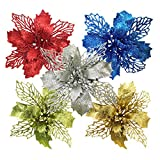 XHSP 16 Pcs Glitter Poinsettia Christmas Flowers