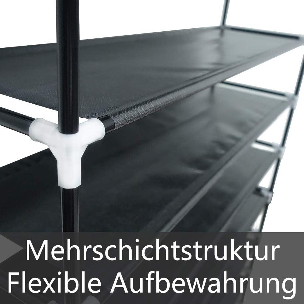 Schlafzimmer,Ankleidezimmer und Flur 100x29x136cm UISEBRT Schuhregal Schwarz mit 8 Ablagen Schuhablage Wasserdicht f/ür Wohnzimmer