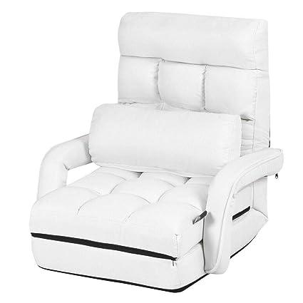 Super Amazon Com White Folding Lazy Sofa Floor Chair Lounger Bed Machost Co Dining Chair Design Ideas Machostcouk