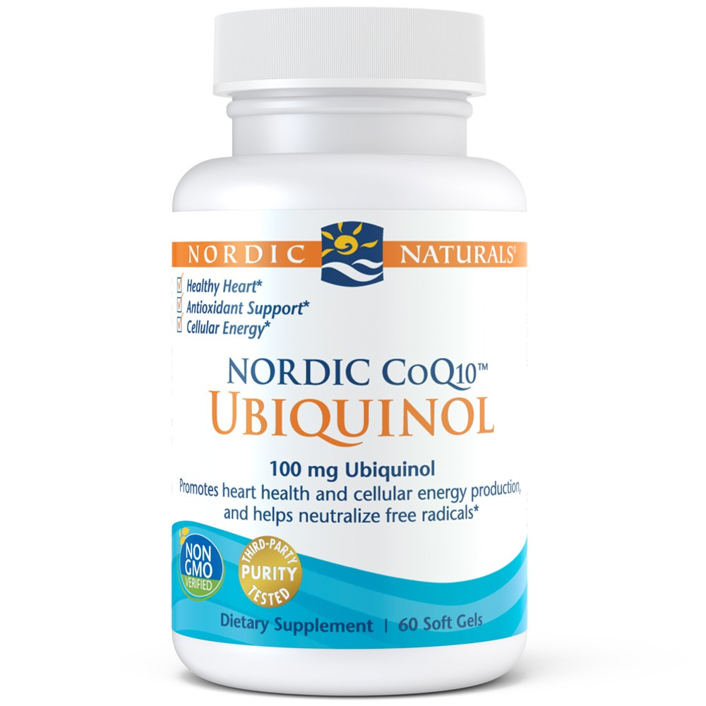 Nordic Naturals CoQ10 Ubiquinol - 100 mg Coenzyme Q10 Powerful Antioxidant Promotes Heart Health and Cellular Energy Production, 60 Soft Gels