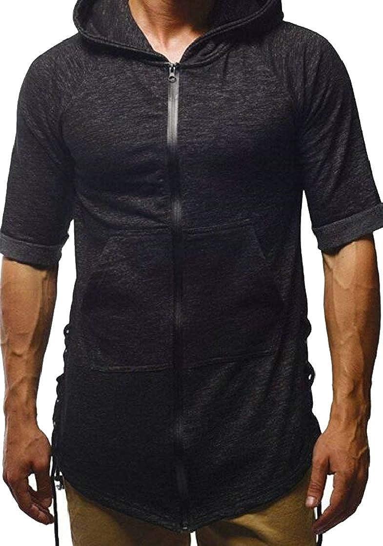 YYear Mens Hoodie Classic Zipper Active Drawstring Big Pockets Tee Top T-Shirts