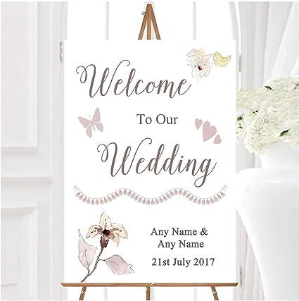 Cartel de bienvenida para boda, diseño de flores de acuarela ...