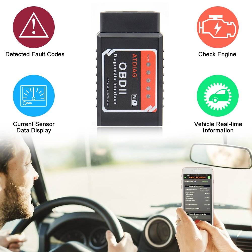 ATDIAG Car WIFI OBD2 Scanner, Wireless OBDII Vehicles Code Reader Scan Tool,OBD2 adapter Check Engine Diagnostic interface for iOS Apple iPhone iPad Andorid Windows (ATI2) by ATDIAG (Image #5)