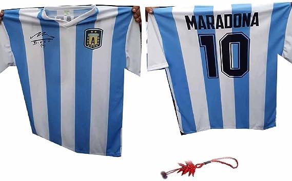 Maglietta Maradona Argentina con autografo stampato B07DK2T7SP