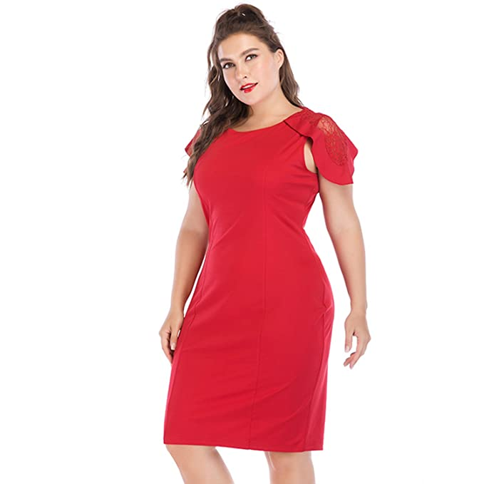 MostaShow Summer Plus Size Dress Female Large Sizes Pencil Midi Dress Womens Big Size Bodycon Clothing