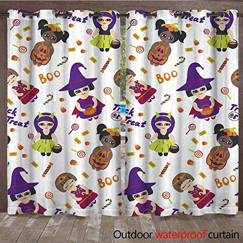 RenteriaDecor Outdoor Curtain for Patio Halloween Vector Seamless Pattern with Kids in Costumes W96 x L108 -